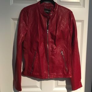 Express Red Leather Jacket